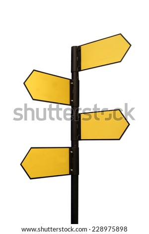 blank directional sign with 4 arrows isolated on white - stock photo