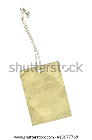 blank dirty beige cardboard tag on white background