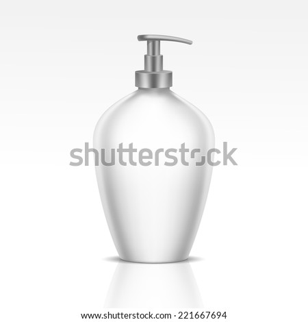 Blank Dispenser Pump for Liquid Soap, Foam or Gel. Isolated on White Background - stock photo
