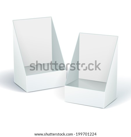 blank display box with soft shadow isolated on white background - stock photo