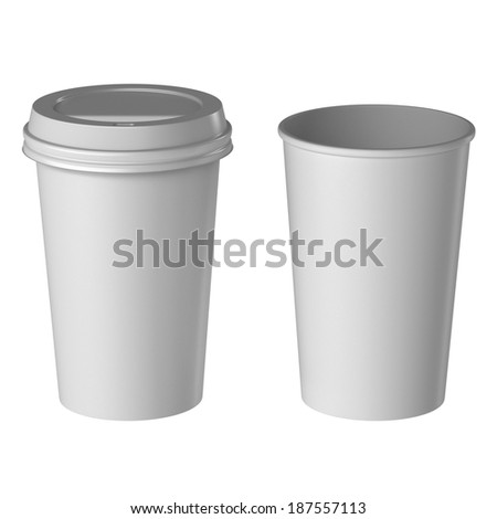 Blank disposable cup, Medium size, Isolated on white background, High angle view.