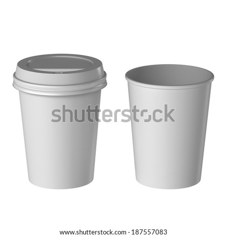 Blank disposable cup, Small size, Isolated on white background, High angle view.