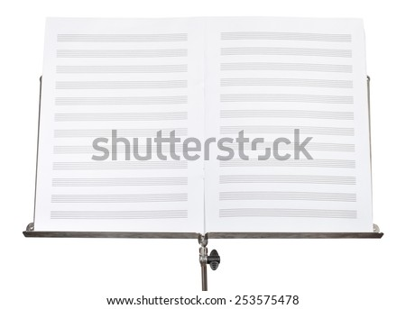 blank double pages of music book on music stand close up isolated on white background - stock photo