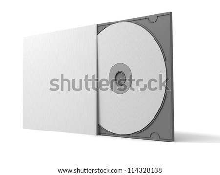 Blank DVD CD case and disc - stock photo