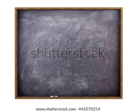 Blank empty blackboard with copy space for mock up isolated on white background, 3D rendering - stock photo