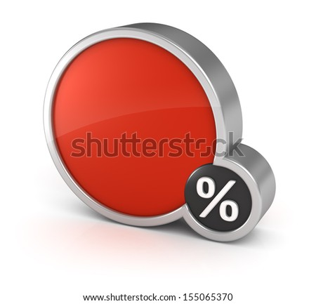 Blank empty discount sale 3d icon. Isolated on white background with clipping path. - stock photo