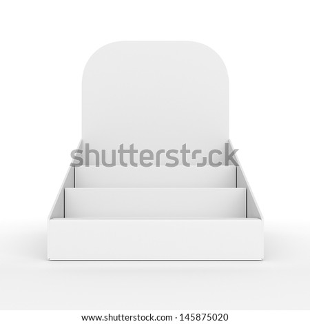 blank empty holder or box display for products from front isolated on white. 3d render - stock photo