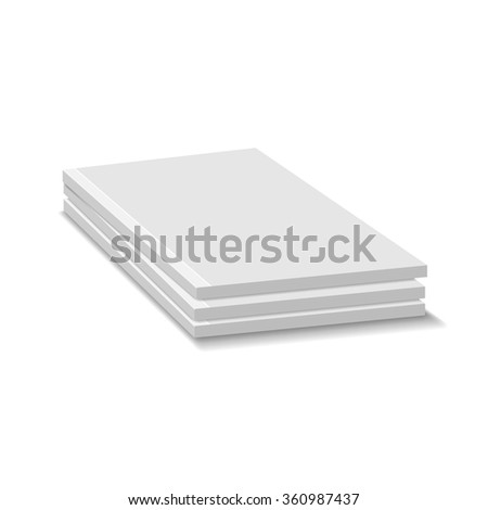 Blank Empty Magazine Or Paperback Book Pile. Three Journals Template. Mock Up For Your Design. White Background.
