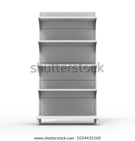 Blank Empty Showcase Display With Retail Shelves. 3D Render. Mock Up, Template. Illustration Isolated On White Background. Ready For Your Design. Product Advertising.