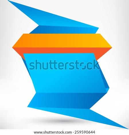 Blank empty speech bubble. Origami banner, background. - stock photo