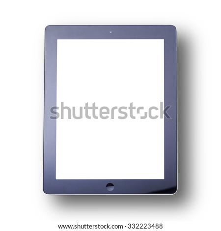 Blank empty tablet computer on white background. Flat mock up for design - stock photo