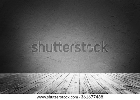 blank empty wall and floor in a black and white - stock photo