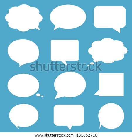 Blank empty white speech bubbles on blue background. - stock photo