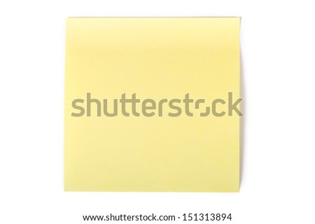 Blank, empty, yellow sticky post it note for your message, isolated on white background.