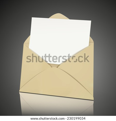 blank envelope and card template isolated over black background - stock photo