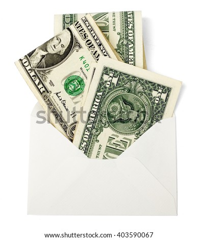 Blank envelope with cash