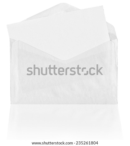 Blank envelope with reflection on white background - stock photo