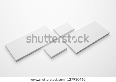 Blank Envelopes and  Business card isolated on white - stock photo