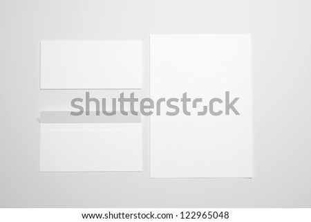 Blank Envelopes and document on neutral background - stock photo