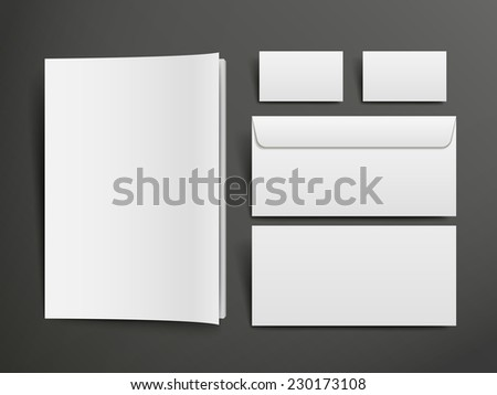 blank envelopes, business card and book over black background - stock photo