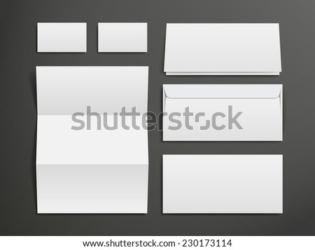 blank envelopes, business card and folder over black background - stock photo