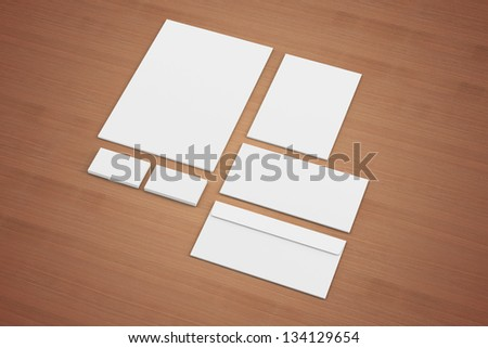 Blank Envelopes Business card folder isolated on wooden background - stock photo