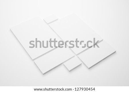 Blank Envelopes Document A4 and  Business card isolated on white - stock photo