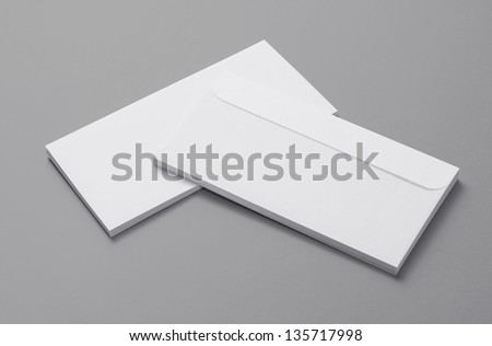 Blank Envelopes isolated on grey background with soft shadows - stock photo