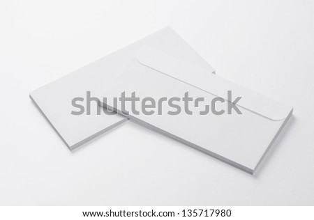 Blank Envelopes isolated on white background with soft shadows - stock photo