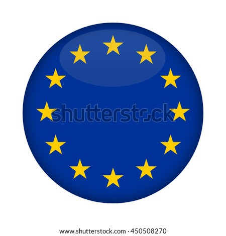 Blank Euro Flag button isolated on a white background. - stock photo