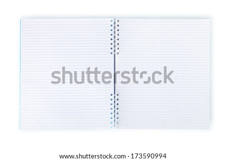 Blank exercise book isolated on white. Clipping path.