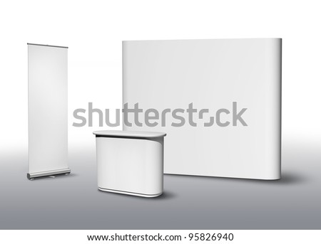 Blank exhibition fair stand desk and wall, apply your own design - stock photo
