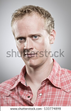 Blank Expression Portrait, Caucasian Man - stock photo