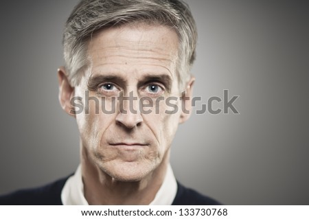 Blank Expression Senior Man - stock photo
