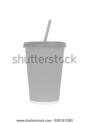 Blank fast food drinking cup, isoleted on white background, Clipping paths