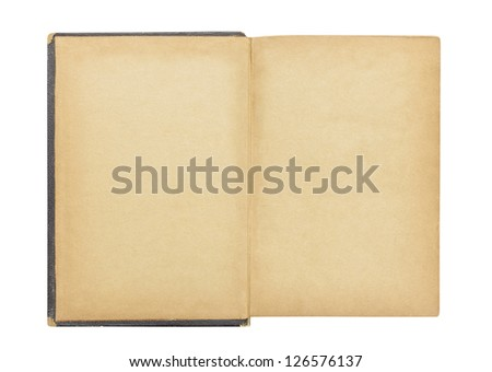 Blank first page in antique book isolated with clipping path.