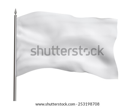 Blank flag template, isolated on white, clipping path included - stock photo