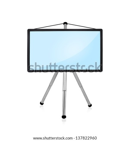 blank flat panel on tripod  on a white background