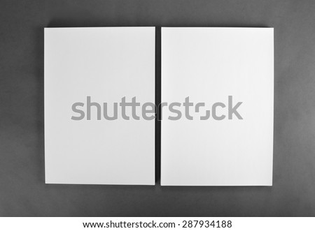 Blank flyer poster on grey to replace your design - stock photo
