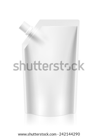 blank foil food or drink packaging isolated on white - stock photo