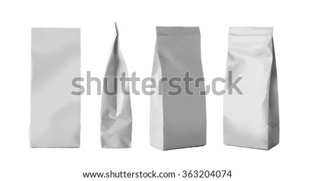 Blank Foil Food Snack Sachet Bags Packaging For Coffee, Salt, Sugar, Pepper, Spices, Sachet, Sweets, Chips, Cookies.  - stock photo