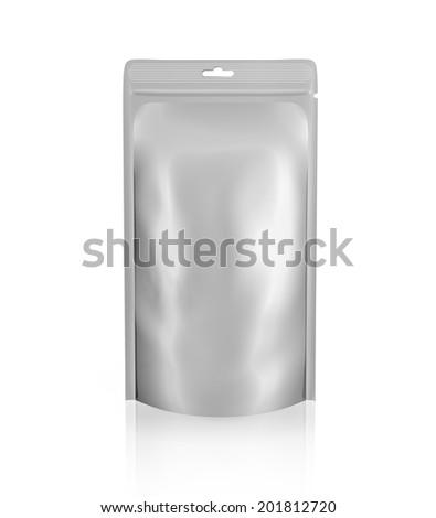 Blank foil or plastic sachet on white background - stock photo