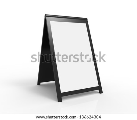 Blank foldable advertising board. Very modern look. You can easily paste your custom text onto the board.