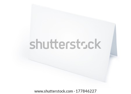 Blank folded card on white