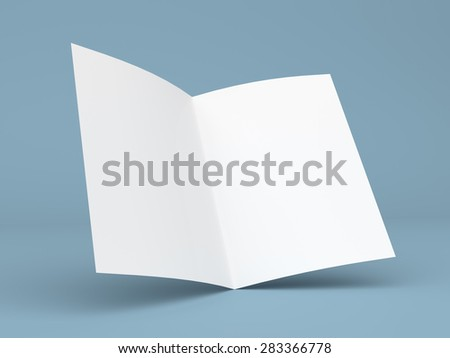 Blank folded flyer, booklet, business card or brochure mockup template on blue background - stock photo