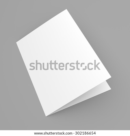 Blank folded flyer, booklet, postcard, business card or brochure mockup template on grey background