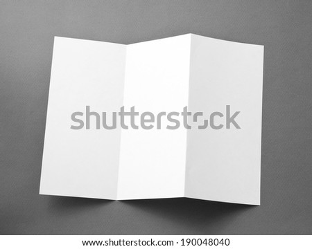 Blank folding page booklet on gray background - stock photo