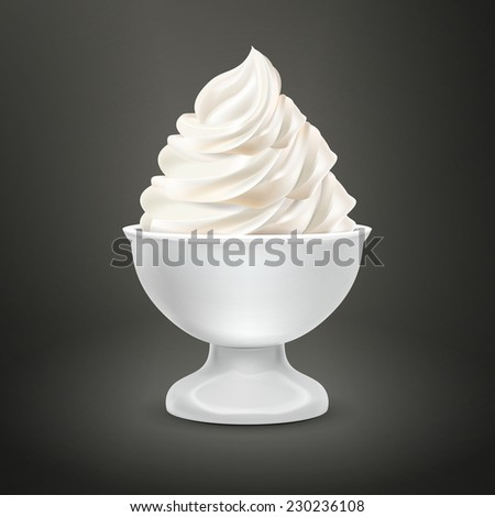 blank food container with milk ice cream isolated over black - stock photo