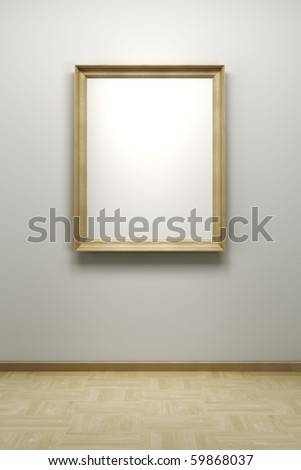 blank frame in the gallery, 3d rendering - stock photo