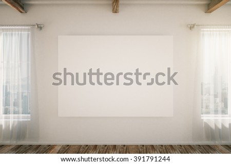 Blank frame in the middle of white loft interior room with brown wooden floor, windows and curtains. Mock up, 3D Render - stock photo